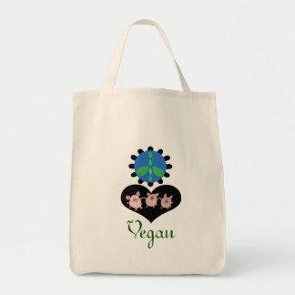 A bolsa de compra do Vegan do amor da paz