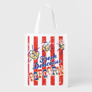 A bolsa de compra retro da pipoca deliciosa fresca sacolas reusáveis