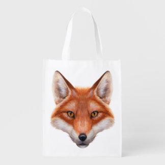 A bolsa de compra reusável da cara do Fox vermelho Sacolas Ecológicas
