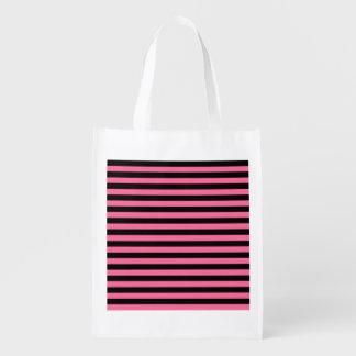 A bolsa de compra reusável das listras cor-de-rosa sacola ecológica para supermercado