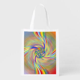 A bolsa de compra reusável de giro do arco-íris sacola ecológica