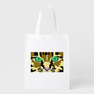 A bolsa de compra reusável do gato de gato malhado sacolas reusáveis
