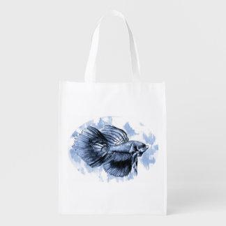 A bolsa de compra reusável dos peixes azuis de sacola reusável