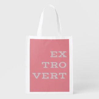 A bolsa de compra reusável extrovertida cinzenta sacola reusável