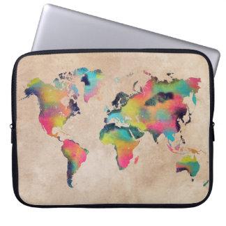 """a bolsa de laptop 15"""" do neopreno do mapa do mundo capa para laptop"""