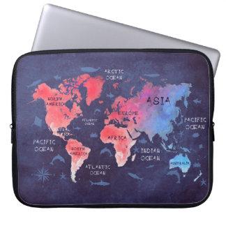 """a bolsa de laptop 15"""" do neopreno do mapa do mundo sleeve para notebook"""