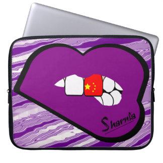 A bolsa de laptop de China dos lábios de Sharnia Capa Para Notebook