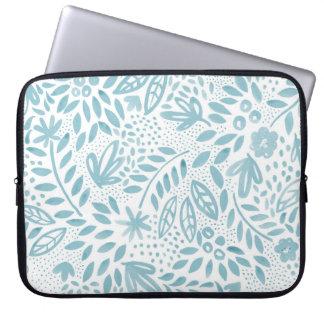 A bolsa de laptop floral azul do Belle Capa De Notebook