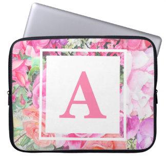 A bolsa de laptop floral do monograma da aguarela capa de notebook