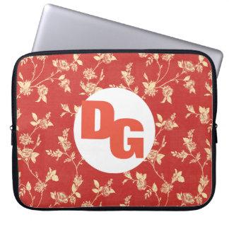 A bolsa de laptop floral vermelha do teste padrão capa para laptop