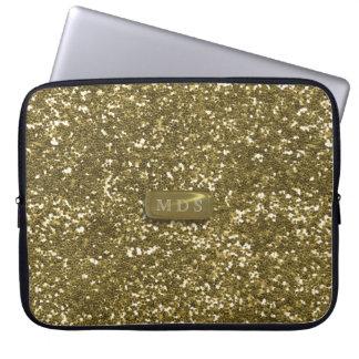 A bolsa de laptop impressa brilho do ouro da bolsas e capas para computadores