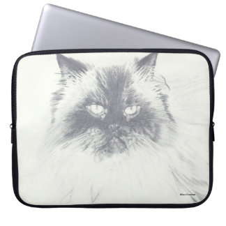A bolsa de laptop tirada mão do computador do gato sleeve para notebook