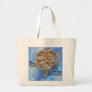 A bolsa de praia da aguarela da tartaruga de mar