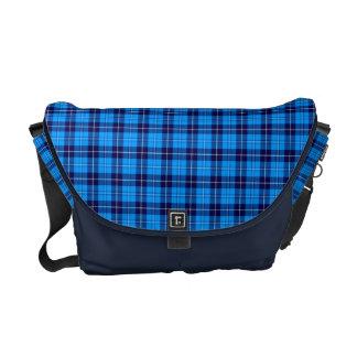 A bolsa mensageiro azul & branca do Tartan de