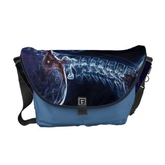 A bolsa mensageiro azul da C-espinha (meio)