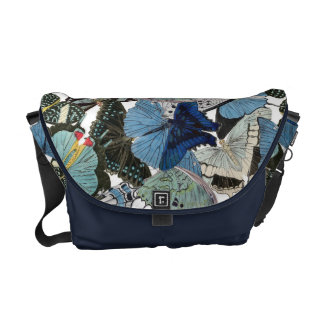 A bolsa mensageiro azul das borboletas