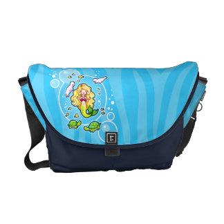 A bolsa mensageiro bonito da sereia da bolha de Ki