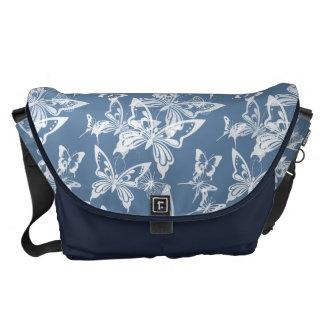 A bolsa mensageiro - borboletas em azul-céu