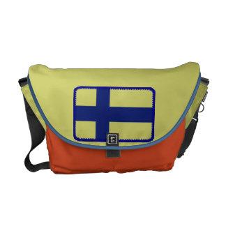A bolsa mensageiro da bandeira de Finlandia