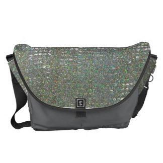 A bolsa mensageiro de vidro de prata do mosaico