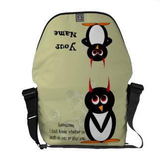 A bolsa mensageiro má do rickshaw do pinguim