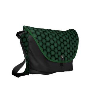 A bolsa mensageiro preta verde do favo de mel