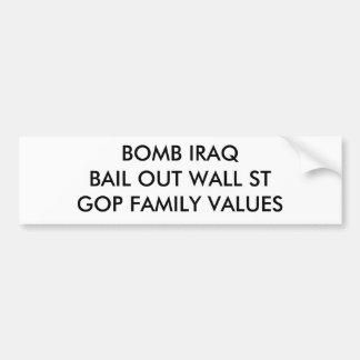 A BOMBA IRAQBAIL PARA FORA MURA VALORES FAMILIARES ADESIVO PARA CARRO