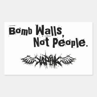 A bomba mura a etiqueta adesivo retangular