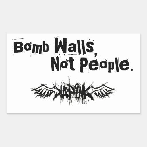 A bomba mura a etiqueta adesivos em forma retangular