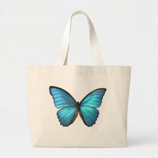 A borboleta azul de Morpho voa a sacola Bolsas
