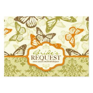 A borboleta beija o cartão de visita encantador