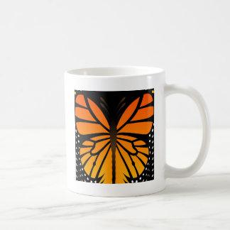 A borboleta beija o design gráfico do anjo floral canecas