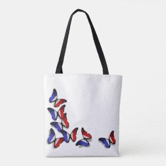 A borboleta francesa embandeira o saco bolsas tote