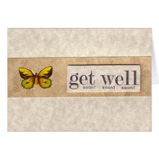 A borboleta verde e amarela obtem logo o cartão