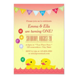 A borracha bonito Ducks a festa de aniversario de Convite 12.7 X 17.78cm