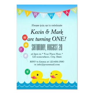 A borracha bonito Ducks a festa de aniversário dos Convite 12.7 X 17.78cm