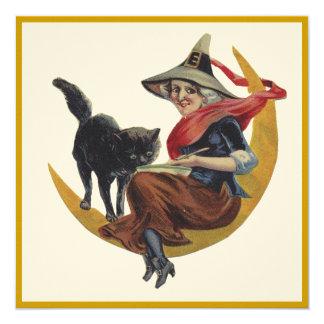 A bruxa antiquado do Dia das Bruxas na lua convida Convite Quadrado 13.35 X 13.35cm