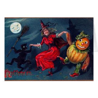 A bruxa do Dia das Bruxas do vintage adiciona o Cartão