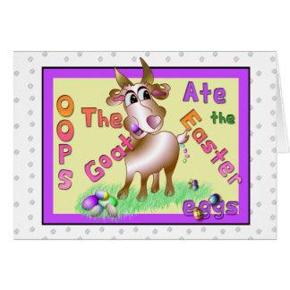 A cabra comeu ovos da páscoa cartão comemorativo