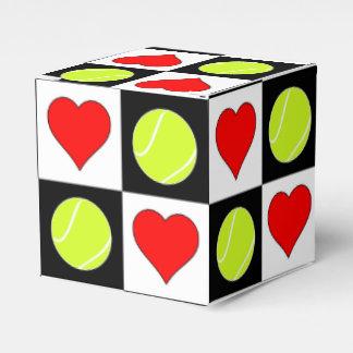 A caixa de presente do jogador de ténis das bolas