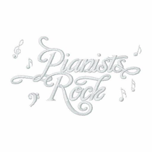 A camisa bordada do músico da rocha dos pianistas camisas polo bordadas