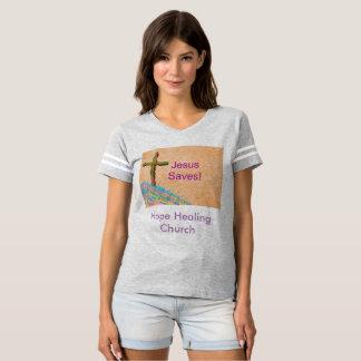 A camisa cura Jesus da mulher cristã da igreja da