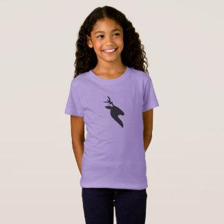 A camisa da menina roxa dos cervos pretos