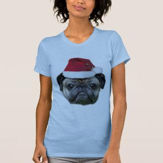 A camisa da mulher do cão do pug do Natal