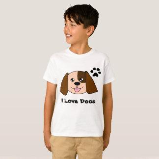 A camisa das crianças da pessoa do cão