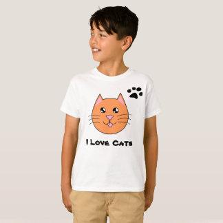 A camisa das crianças da pessoa do gato