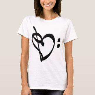 A camisa das mulheres do coração do Clef da música