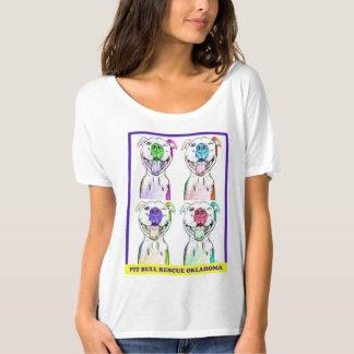 A camisa das mulheres do pop art do pitbull de PBR