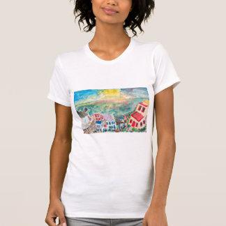 A camisa das mulheres do por do sol de Mykonos