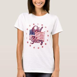 A camisa das mulheres idosas da bandeira da glória